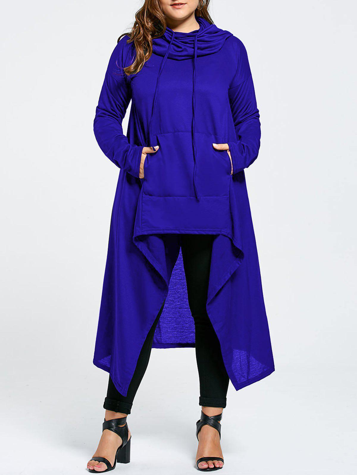 Plus Size Maxi Asymmetric Funnel Collar HoodieWOMEN<br><br>Size: 5XL; Color: BLUE; Material: Cotton Blend,Polyester; Shirt Length: X-Long; Sleeve Length: Full; Style: Fashion; Pattern Style: Solid; Season: Fall,Winter; Weight: 0.5800kg; Package Contents: 1 x Hoodie;