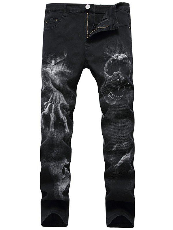 Zip Fly Skull Pattern JeansMEN<br><br>Size: 42; Color: BLACK; Material: Cotton,Spandex; Pant Length: Long Pants; Wash: Dark; Fit Type: Regular; Waist Type: Mid; Closure Type: Zipper Fly; Weight: 0.6200kg; Pant Style: Pencil Pants; Package Contents: 1 x Jeans; With Belt: No;
