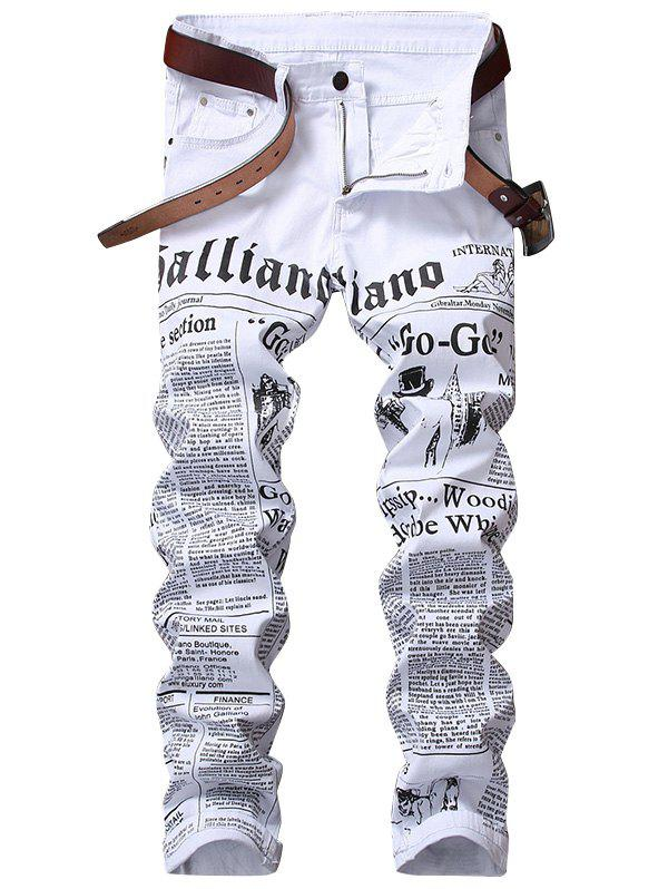 Zip Fly Journal Print JeansMEN<br><br>Size: 36; Color: WHITE; Material: Cotton,Spandex; Pant Length: Long Pants; Wash: Colored; Fit Type: Regular; Waist Type: Mid; Closure Type: Zipper Fly; Weight: 0.6100kg; Package Contents: 1 x Jeans; With Belt: No;