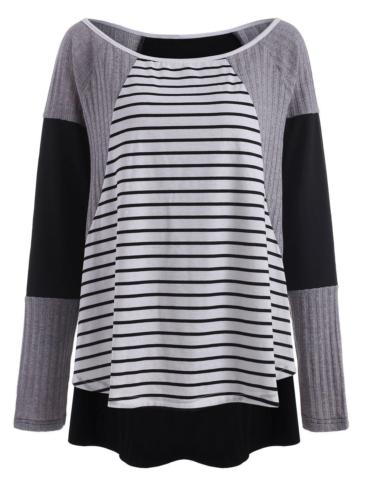 Outfit Stripe Insert Plus Size High Low Top