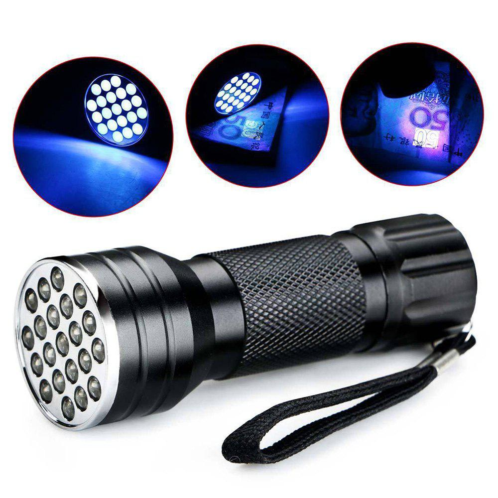 21 LED Aluminium Alloy UV FlashlightHOME<br><br>Color: BLACK; Emitters Quantity: 21; Switch Location: Tail Cap; Power Source: 3*AAA  Battery (not included); Available Light Color: UV; Light wavelength: 395nm;