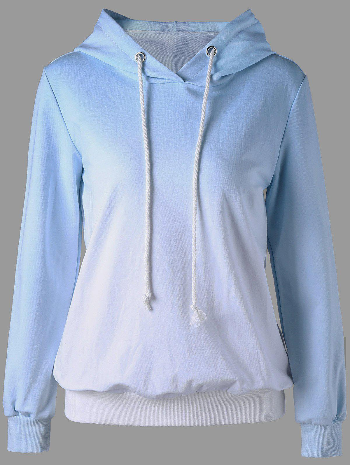 Affordable Pullover Ombre Long Sleeve Hoodie