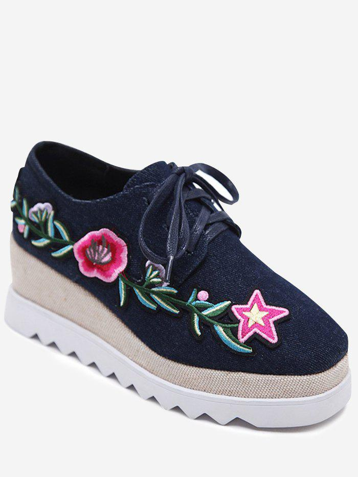 Chic Embroidered Denim Wedge Shoes