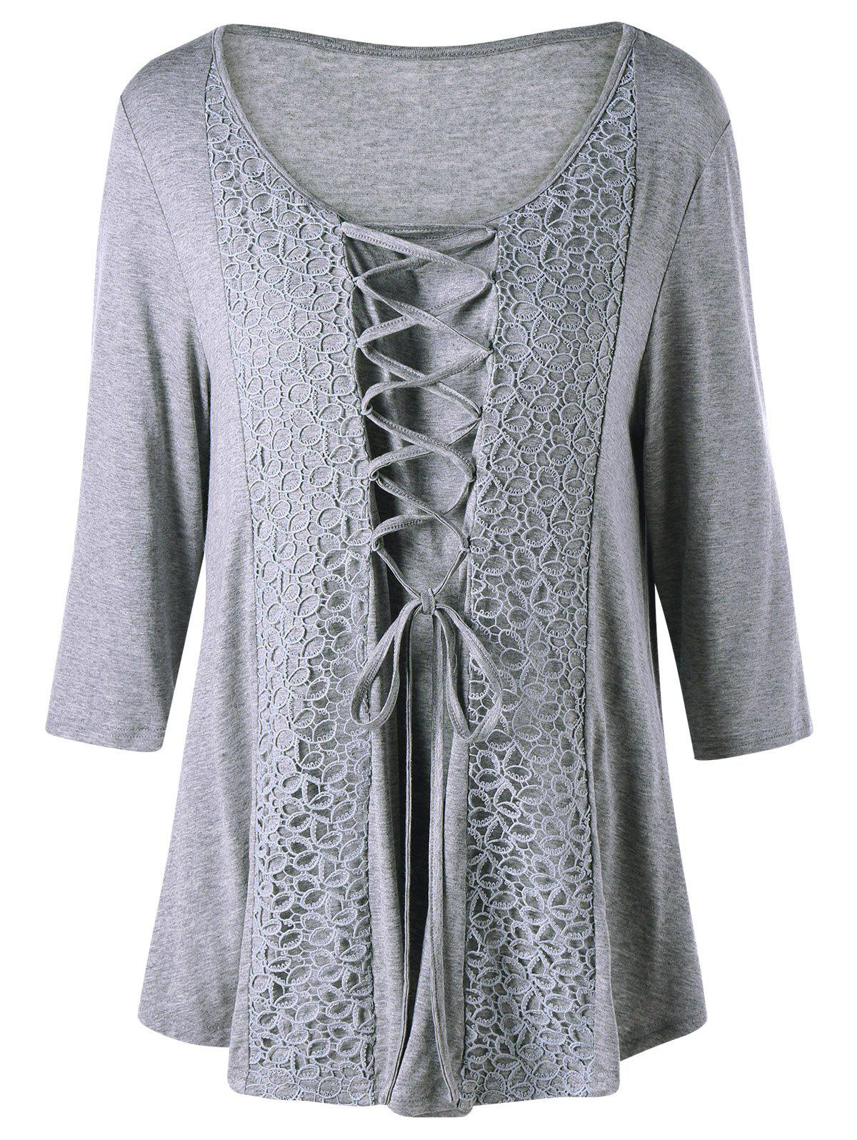 Plus Size Criss Cross Lace Panel TopWOMEN<br><br>Size: 2XL; Color: GRAY; Material: Cotton,Spandex; Shirt Length: Regular; Sleeve Length: Three Quarter; Collar: Scoop Neck; Style: Casual; Season: Fall,Spring; Embellishment: Criss-Cross; Pattern Type: Others; Weight: 0.3000kg; Package Contents: 1 x T-shirt;