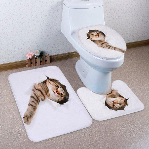 Chic 3D Broken Paper Cat Pattern 3 Pcs Bath Mat Toilet Mat