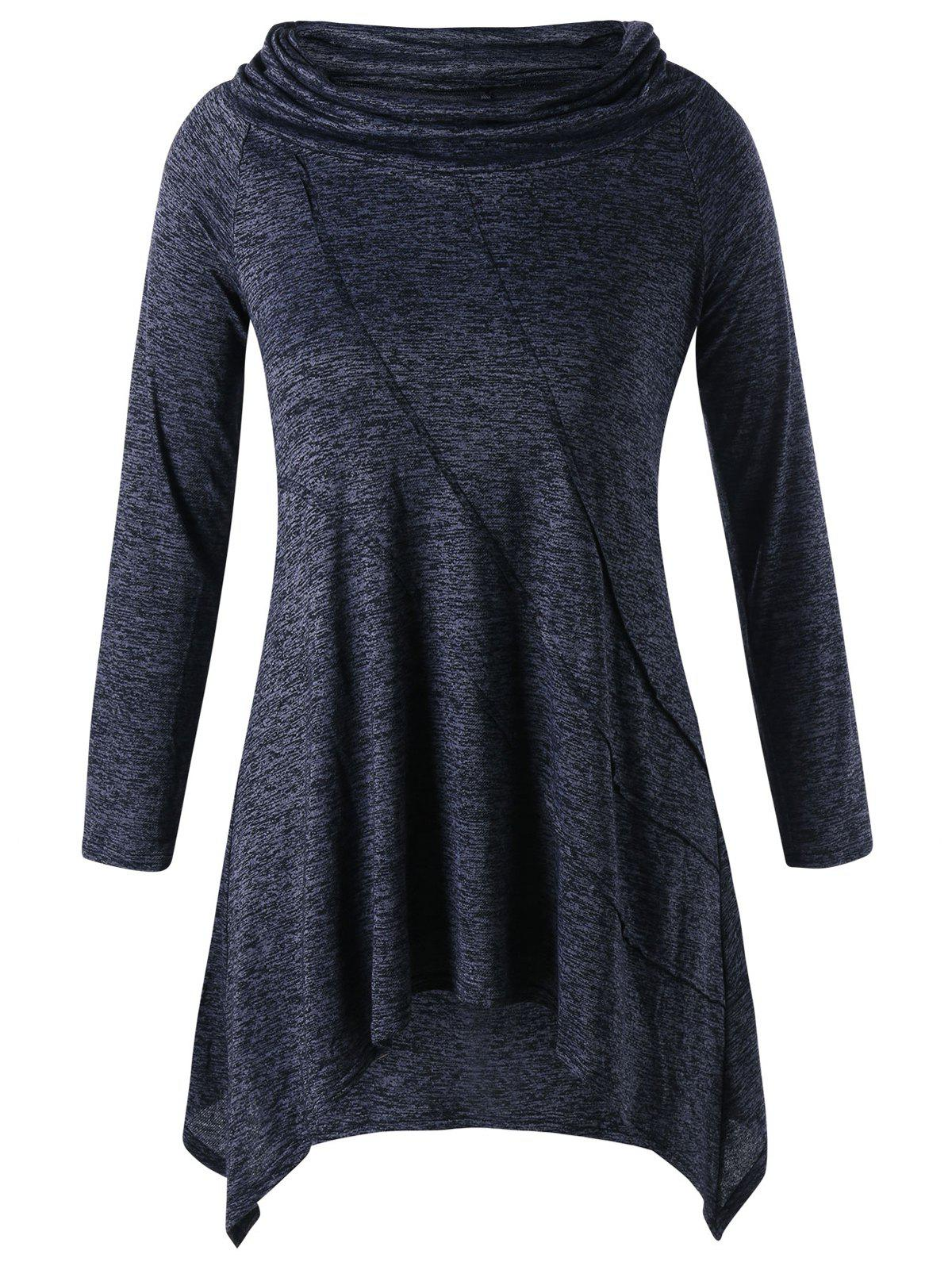 asymmetric plus size long sleeve tunic top