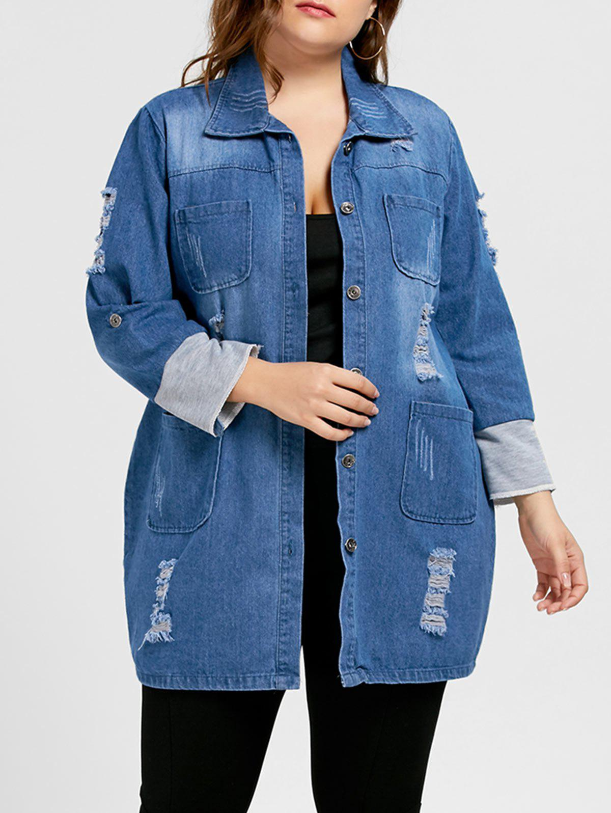 Ripped Denim Plus Size Longline CoatWOMEN<br><br>Size: 5XL; Color: BLUE; Clothes Type: Jackets; Material: Cotton,Polyester; Type: Wide-waisted; Shirt Length: Long; Sleeve Length: Full; Collar: Turn-down Collar; Pattern Type: Solid; Style: Fashion; Season: Fall; Weight: 0.6550kg; Package Contents: 1 x Coat;