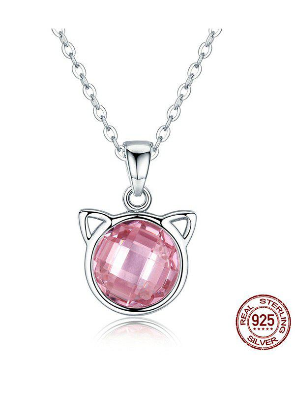 Acrylic Rhinestone Cat Head Shape Charm NecklaceJEWELRY<br><br>Color: PINK; Item Type: Pendant Necklace; Gender: For Women; Necklace Type: Link Chain; Material: Acrylic; Metal Type: Alloy; Style: Trendy; Shape/Pattern: Others; Weight: 0.0600kg; Package Contents: 1 x Necklace;