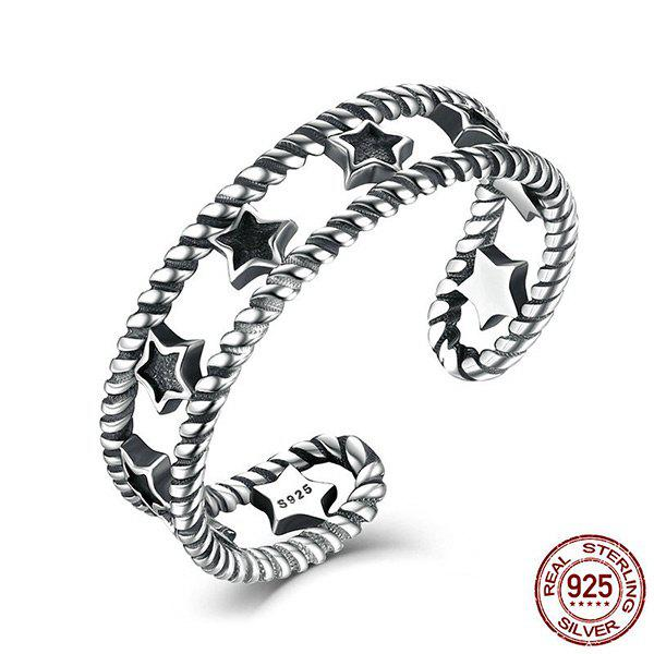 Sterling Silver Star Vintage Cuff RingJEWELRY<br><br>Color: SILVER; Gender: For Women; Metal Type: Silver; Style: Trendy; Shape/Pattern: Star; Weight: 0.0300kg; Package Contents: 1 x Ring;