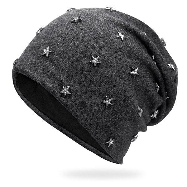 Pentastar Rhinestone Rivet Embellished BeanieACCESSORIES<br><br>Color: DEEP GRAY; Hat Type: Skullies Beanie; Group: Adult; Gender: Unisex; Style: Fashion; Pattern Type: Star; Material: Acrylic; Weight: 0.1000kg; Package Contents: 1 x Hat;