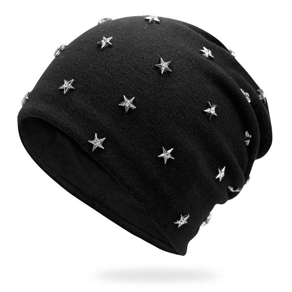Pentastar Rhinestone Rivet Embellished BeanieACCESSORIES<br><br>Color: BLACK; Hat Type: Skullies Beanie; Group: Adult; Gender: Unisex; Style: Fashion; Pattern Type: Star; Material: Acrylic; Weight: 0.1000kg; Package Contents: 1 x Hat;