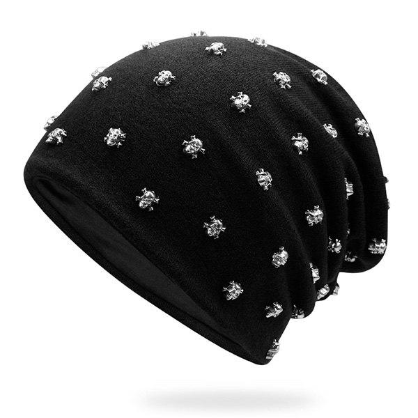 Tiny Skull Rivet Beanie HatACCESSORIES<br><br>Color: BLACK + SILVER; Hat Type: Skullies Beanie; Group: Adult; Gender: Unisex; Style: Fashion; Pattern Type: Skull; Material: Acrylic; Weight: 0.1000kg; Package Contents: 1 x Hat;