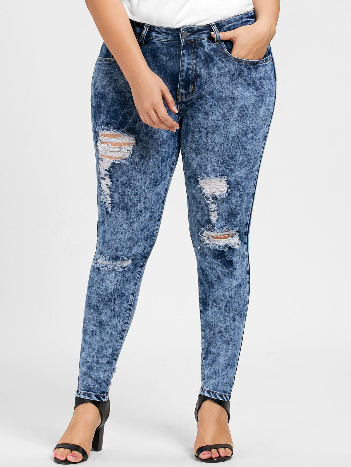 Plus Size Skinny Ripped Zipper JeansWOMEN<br><br>Size: 5XL; Color: DENIM BLUE; Style: Fashion; Length: Normal; Material: Polyester; Fit Type: Skinny; Waist Type: Mid; Closure Type: Zipper Fly; Pattern Type: Solid; Pant Style: Pencil Pants; Weight: 0.5650kg; Package Contents: 1 x Jeans;