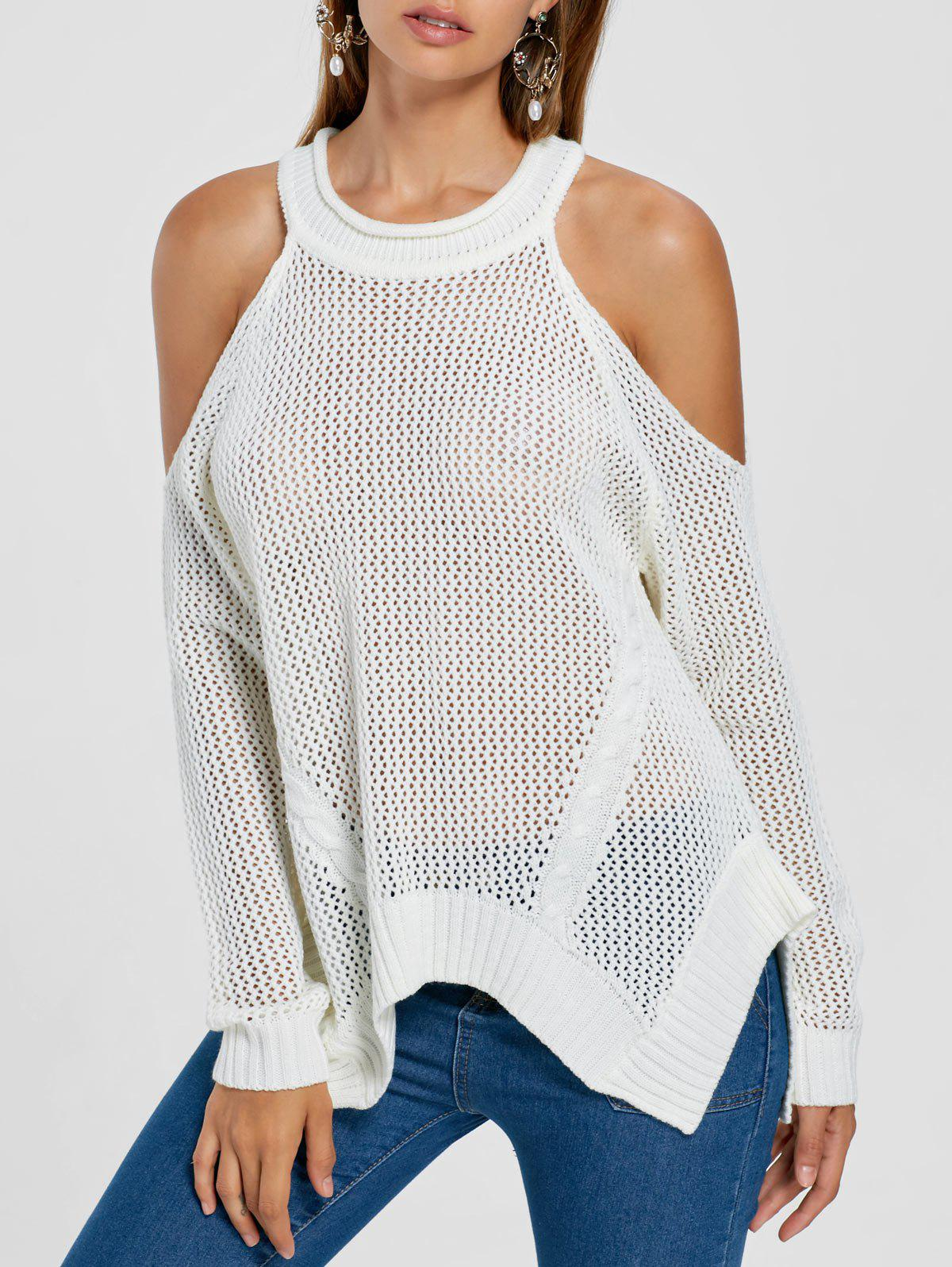 Shops Cold Shoulder Open Knit Sweater
