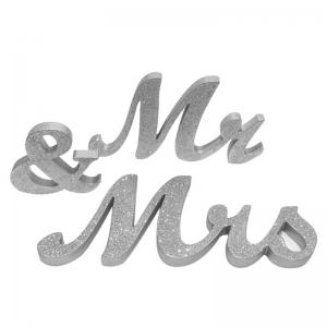 Wedding Decor Glitter Powder Wooden Mr And Mrs - SILVER