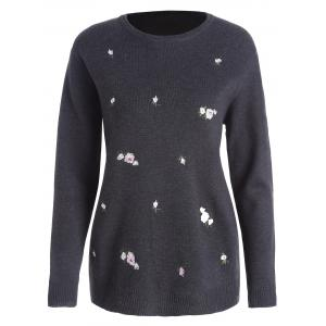 Plus Size Floral Embroidered Jumper Sweater - Deep Gray - 2xl