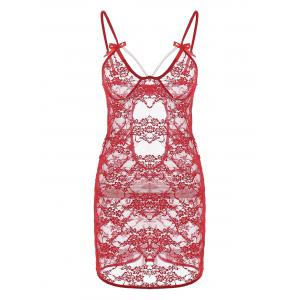 Lace Backless Sheer Slip Babydoll - Red - M