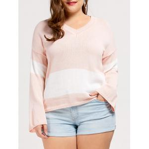 Plus Size Drop Shoulder V Neck Tunic Sweater - Shallow Pink - One Size