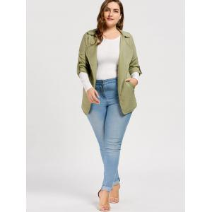 Slit Turn Down Collar Plus Size Trench Coat - LIGHT GREEN 3XL