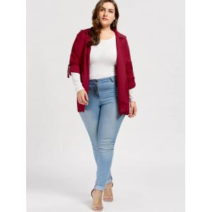 Slit Turn Down Collar Plus Size Trench Coat - DEEP RED 5XL