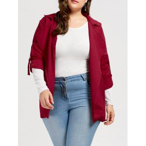 Slit Turn Down Collar Plus Size Trench Coat - Deep Red - 3xl
