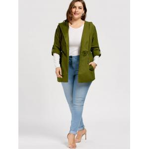 Plus Size Drawstring Hooded Trench Coat - GREEN XL