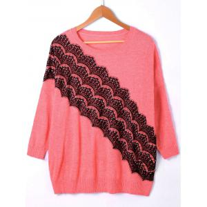 Pullover Ribbed Lace Panel Drop Shoulder Sweater - Watermelon Red - One Size