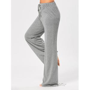 Lace Up Bottom Elastic Waist Casual Pants - GRAY S