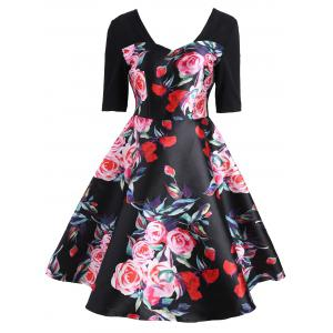 Sweetheart A Line Printed Dress - Black - 2xl