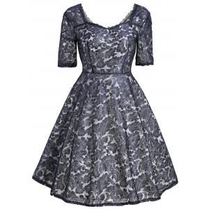 Floral Lace Sweetheart Vintage Dress - Black - 2xl