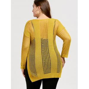 Yellow One Size High Low Plus Size Crochet See Through Sweater ...