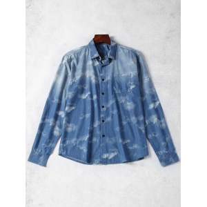 Tie Dyed Single Breasted Denim Shirt - Blue - Xs