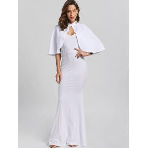 Fitted Long Tight Cami Bodycon Maxi Dress with Clock - WHITE M