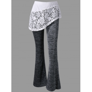 Heather Lace Trim Flare Skirted Pants - DARK HEATHER GRAY 2XL