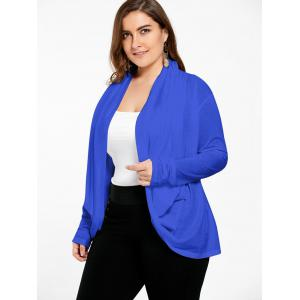 Open Front Long Plus Size Wrap Cardigan - BLUE XL