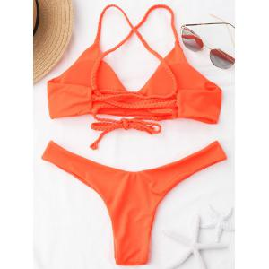 Braided Straps Cross Back Bikini Swimwear -