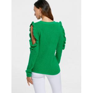 Ruffle Cold Shoulder Sweater - GREEN M