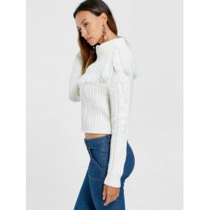 Turtleneck Cable Knit Tassel Sweater - WHITE M