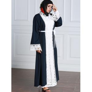 Lace Trim Contrasting Belted Longline Cardigan - BLACK 2XL