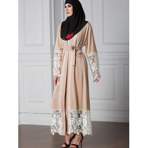 Lace Panel Belted Longline Cardigan -