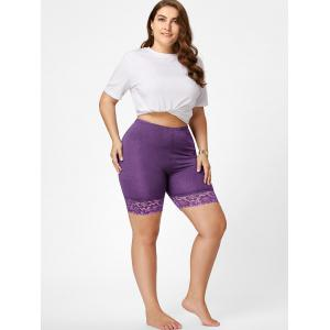 Plus Size Lace Trim Short Leggings -