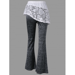 Heather Lace Trim Flare Skirted Pants -