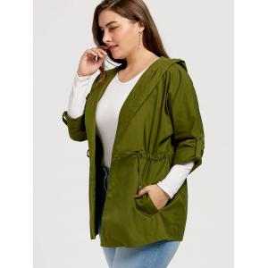 Plus Size Drawstring Hooded Trench Coat -