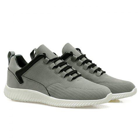 Low Top Tie Up Athletic Shoes - Gray - 40