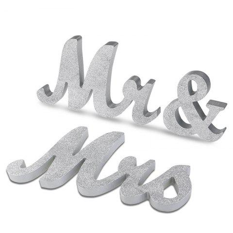 Sale Wedding Decor Glitter Powder Wooden Mr And Mrs SILVER