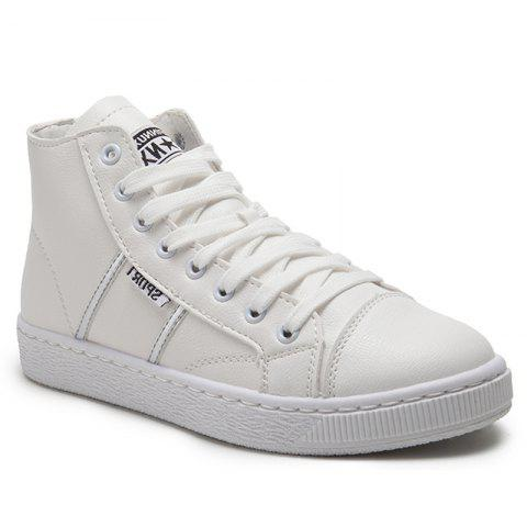 Unique High Top PU Leather Casual Shoes - 37 WHITE Mobile