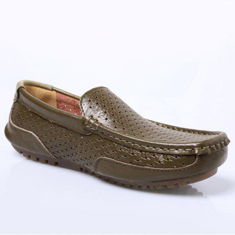 Affordable Slip On Hollow Out Casual Shoes - 43 KHAKI Mobile