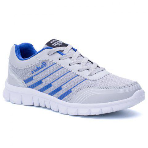 Letter Striped Color Block Sneakers - Gray - 40