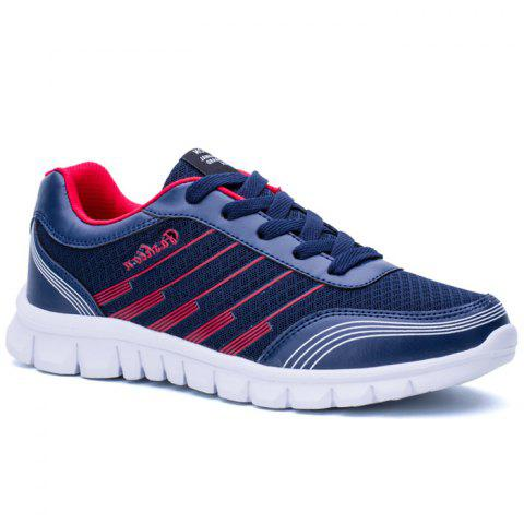 Letter Striped Color Block Sneakers - Blue - 44