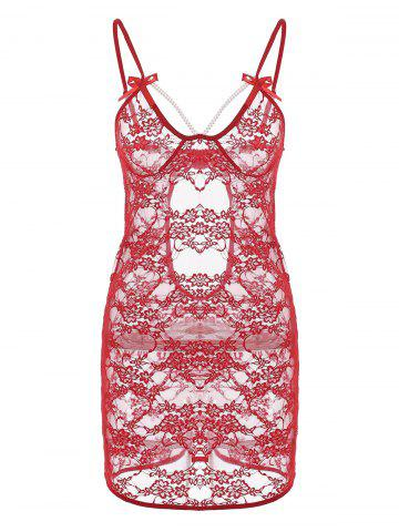 Unique Lace Backless Sheer Slip Babydoll RED L